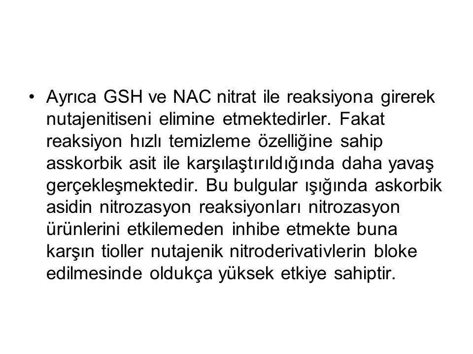 Ayrıca GSH ve NAC nitrat ile reaksiyona girerek nutajenitiseni elimine etmektedirler.