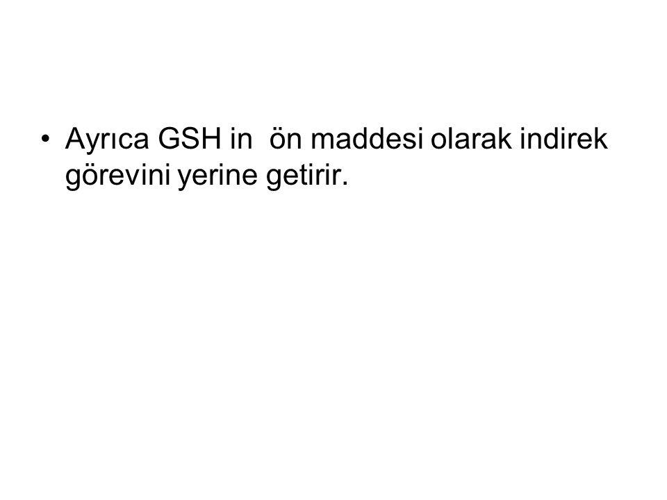 Ayrıca GSH in ön maddesi olarak indirek görevini yerine getirir.