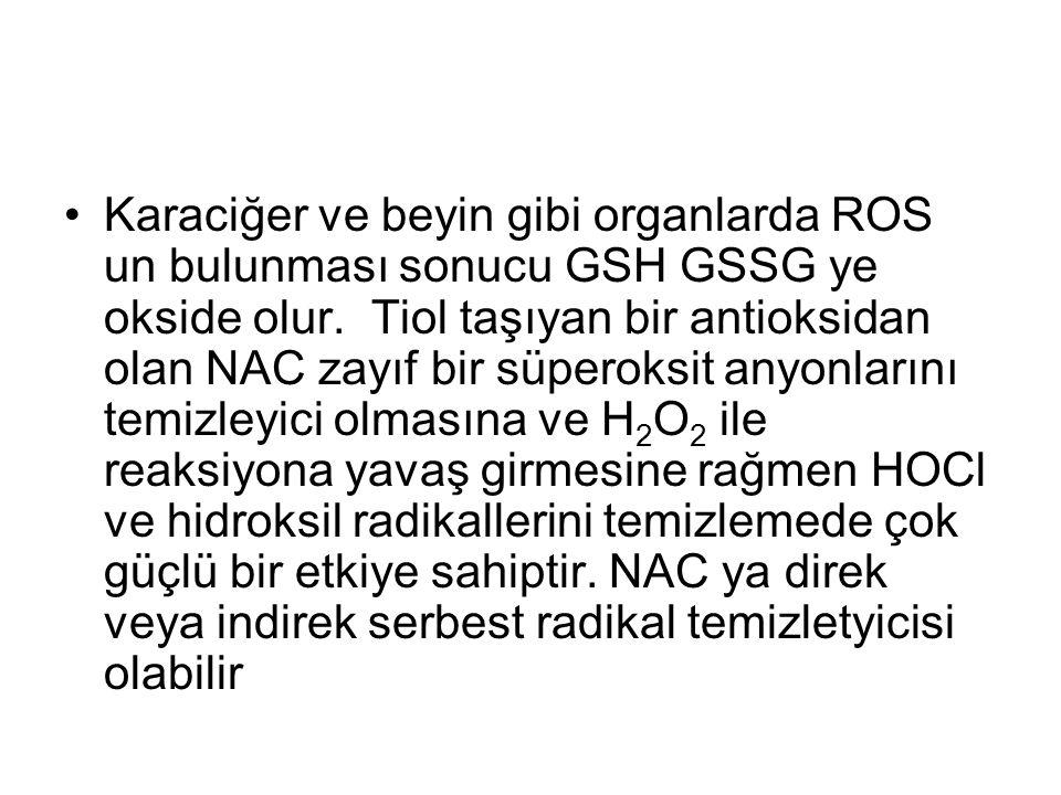 Karaciğer ve beyin gibi organlarda ROS un bulunması sonucu GSH GSSG ye okside olur.