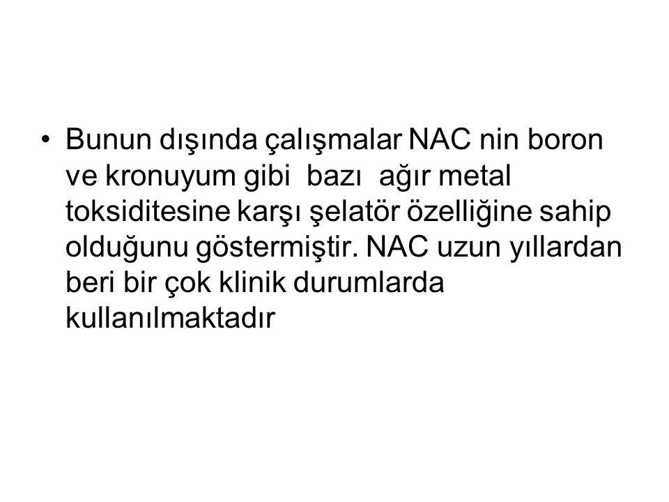 Bunun dışında çalışmalar NAC nin boron ve kronuyum gibi bazı ağır metal toksiditesine karşı şelatör özelliğine sahip olduğunu göstermiştir.