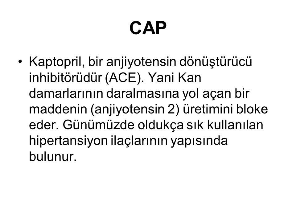 CAP Kaptopril, bir anjiyotensin dönüştürücü inhibitörüdür (ACE).
