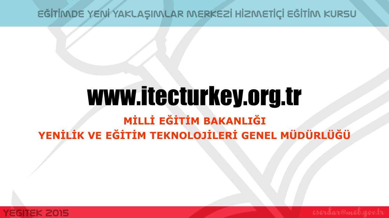 www.itecturkey.org.tr MİLLİ EĞİTİM BAKANLIĞI YENİLİK VE EĞİTİM TEKNOLOJİLERİ GENEL MÜDÜRLÜĞÜ