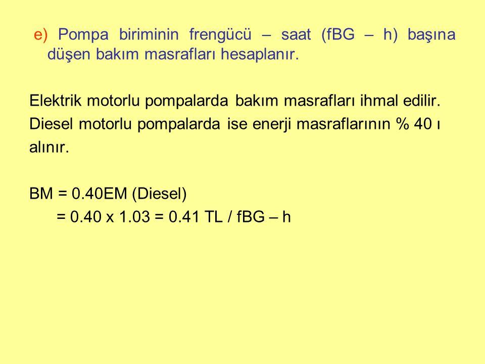 e) Pompa biriminin frengücü – saat (fBG – h) başına düşen bakım masrafları hesaplanır.