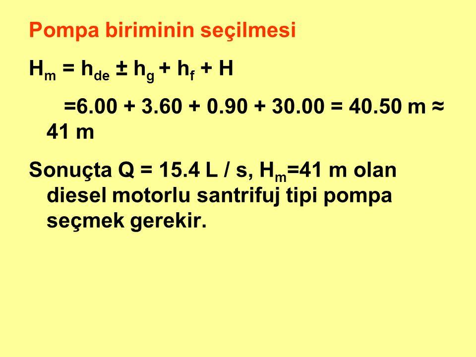 Pompa biriminin seçilmesi H m = h de ± h g + h f + H =6.00 + 3.60 + 0.90 + 30.00 = 40.50 m ≈ 41 m Sonuçta Q = 15.4 L / s, H m =41 m olan diesel motorlu santrifuj tipi pompa seçmek gerekir.