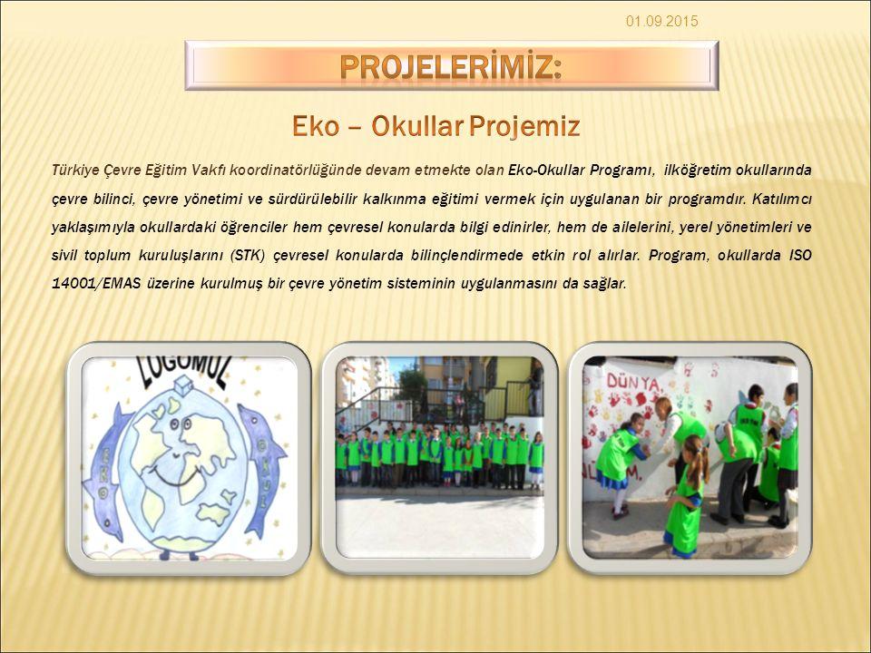 01.09.2015 Türkiye Çevre Eğitim Vakfı koordinatörlüğünde devam etmekte olan Eko-Okullar Programı, ilköğretim okullarında çevre bilinci, çevre yönetimi