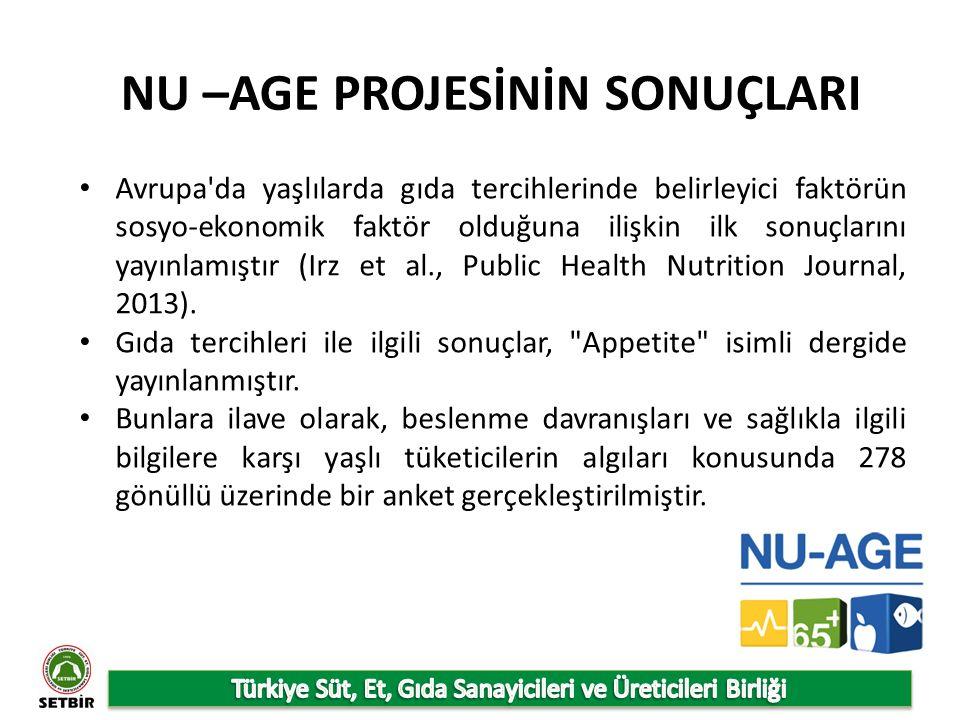 NU –AGE PROJESİNİN SONUÇLARI Avrupa da yaşlılarda gıda tercihlerinde belirleyici faktörün sosyo-ekonomik faktör olduğuna ilişkin ilk sonuçlarını yayınlamıştır (Irz et al., Public Health Nutrition Journal, 2013).