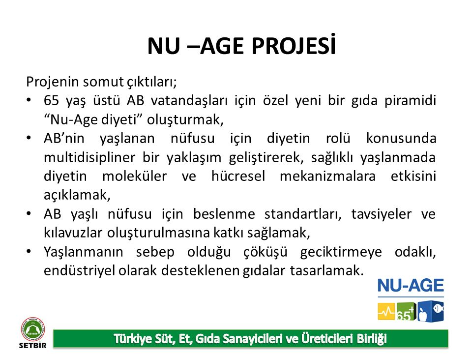 NU –AGE PROJESİ Projenin somut çıktıları; 65 yaş üstü AB vatandaşları için özel yeni bir gıda piramidi Nu-Age diyeti oluşturmak, AB'nin yaşlanan nüfusu için diyetin rolü konusunda multidisipliner bir yaklaşım geliştirerek, sağlıklı yaşlanmada diyetin moleküler ve hücresel mekanizmalara etkisini açıklamak, AB yaşlı nüfusu için beslenme standartları, tavsiyeler ve kılavuzlar oluşturulmasına katkı sağlamak, Yaşlanmanın sebep olduğu çöküşü geciktirmeye odaklı, endüstriyel olarak desteklenen gıdalar tasarlamak.