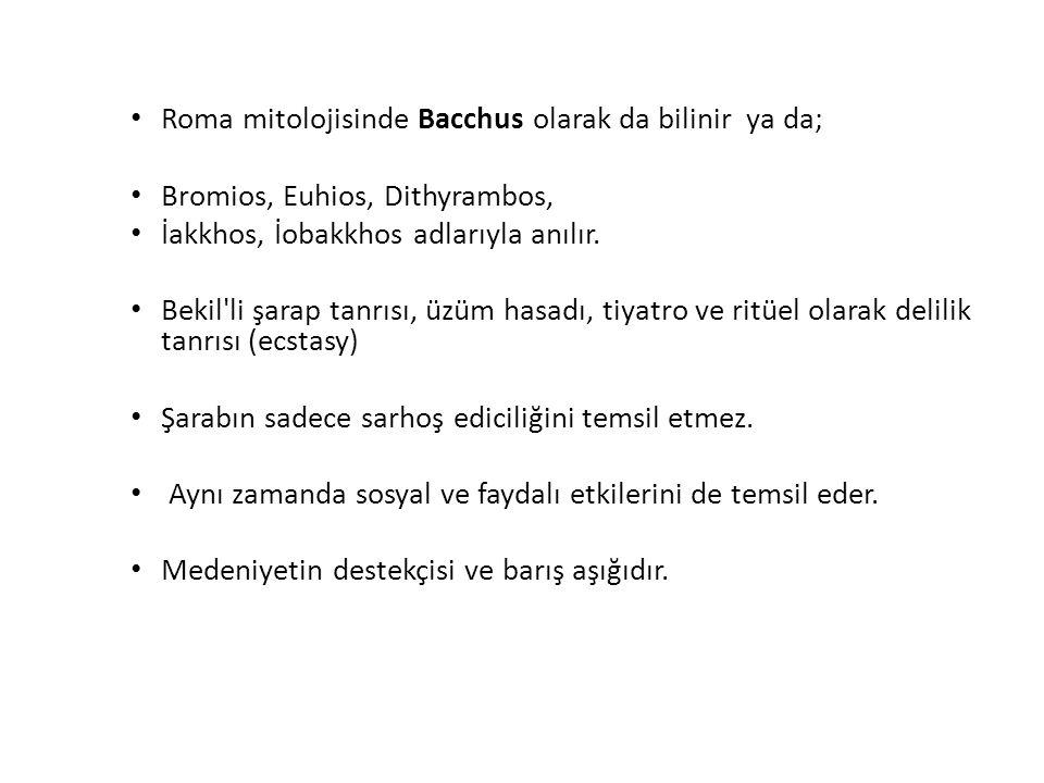 Roma mitolojisinde Bacchus olarak da bilinir ya da; Bromios, Euhios, Dithyrambos, İakkhos, İobakkhos adlarıyla anılır. Bekil'li şarap tanrısı, üzüm ha