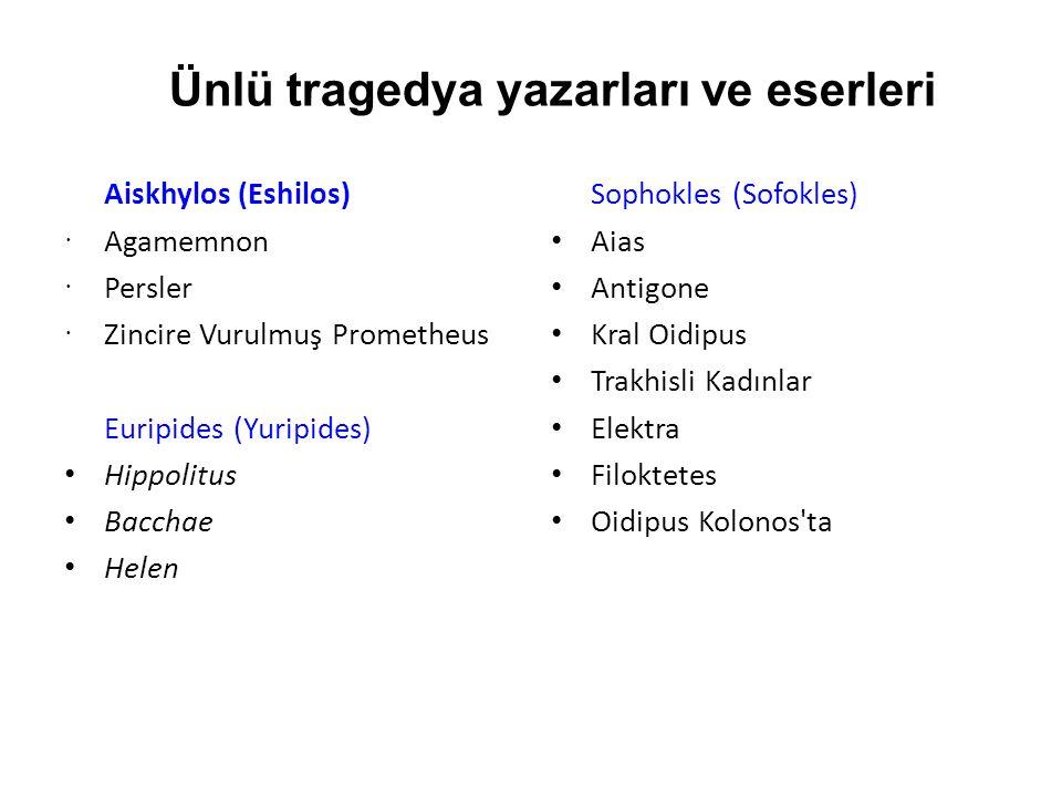 Ünlü tragedya yazarları ve eserleri Aiskhylos (Eshilos)  Agamemnon  Persler  Zincire Vurulmuş Prometheus Euripides (Yuripides) Hippolitus Bacchae H