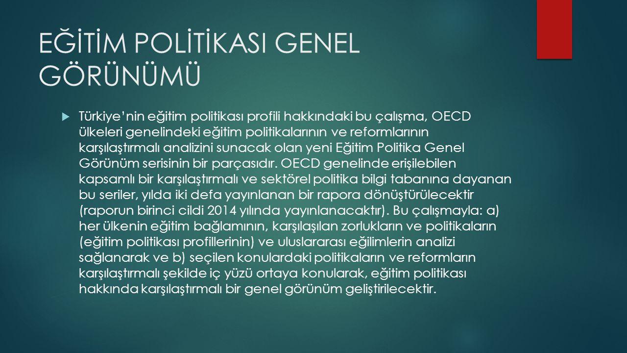 EĞİTİM POLİTİKASI GENEL GÖRÜNÜMÜ  Türkiye'nin eğitim politikası profili hakkındaki bu çalışma, OECD ülkeleri genelindeki eğitim politikalarının ve reformlarının karşılaştırmalı analizini sunacak olan yeni Eğitim Politika Genel Görünüm serisinin bir parçasıdır.