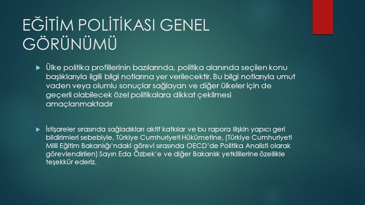 EĞİTİM POLİTİKASI GENEL GÖRÜNÜMÜ  Ülke politika profillerinin bazılarında, politika alanında seçilen konu başlıklarıyla ilgili bilgi notlarına yer verilecektir.