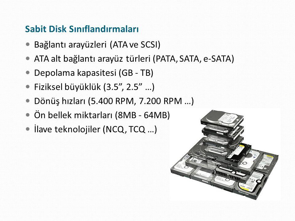 """Bağlantı arayüzleri (ATA ve SCSI) ATA alt bağlantı arayüz türleri (PATA, SATA, e-SATA) Depolama kapasitesi (GB - TB) Fiziksel büyüklük (3.5"""", 2.5"""" …)"""