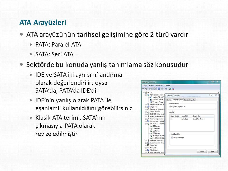 ATA Arayüzleri ATA arayüzünün tarihsel gelişimine göre 2 türü vardır PATA: Paralel ATA SATA: Seri ATA Sektörde bu konuda yanlış tanımlama söz konusudu