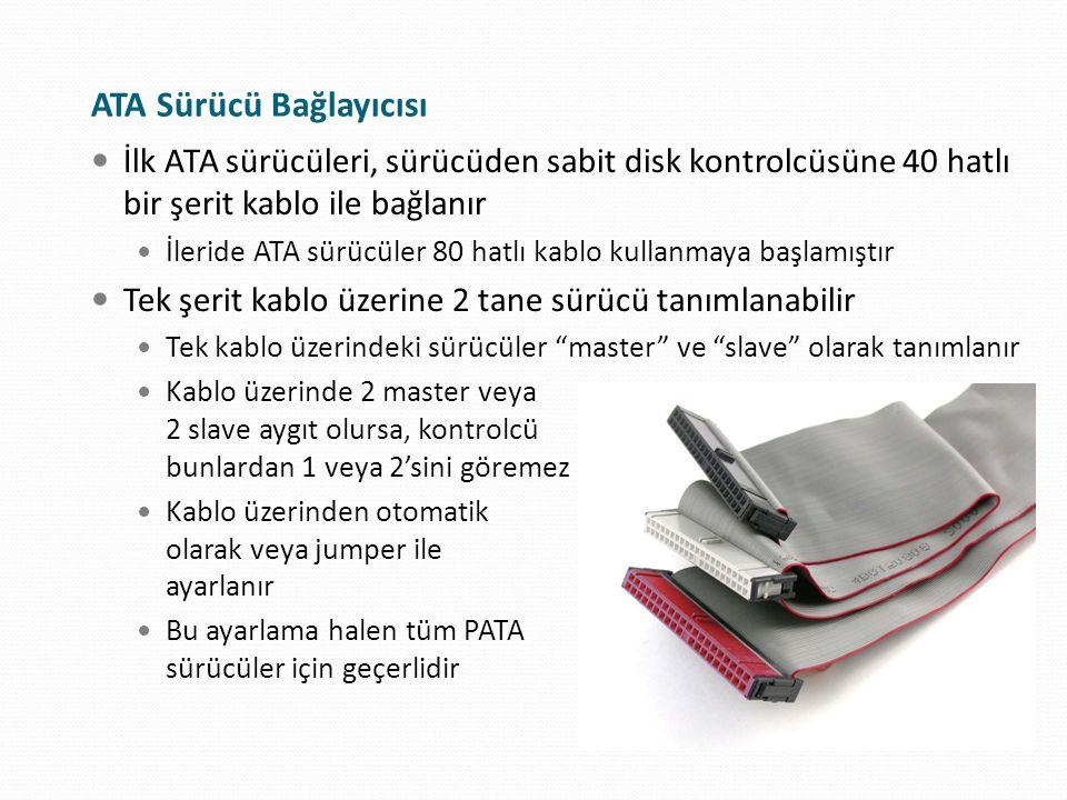 ATA Sürücü Bağlayıcısı İlk ATA sürücüleri, sürücüden sabit disk kontrolcüsüne 40 hatlı bir şerit kablo ile bağlanır İleride ATA sürücüler 80 hatlı kab