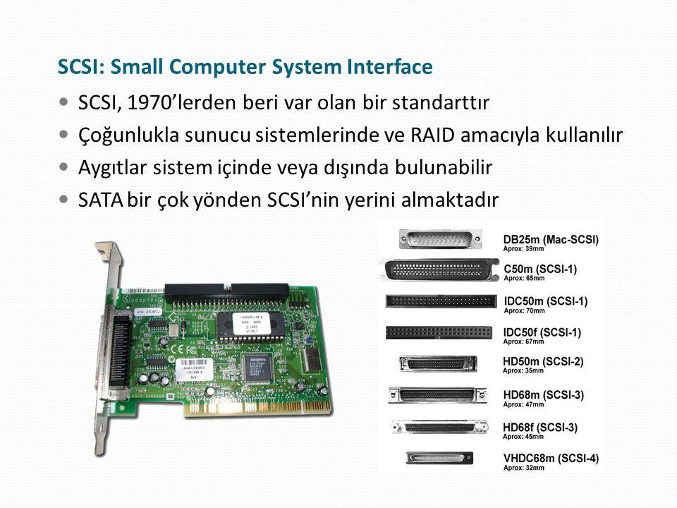 SCSI: Small Computer System Interface SCSI, 1970'lerden beri var olan bir standarttır Çoğunlukla sunucu sistemlerinde ve RAID amacıyla kullanılır Aygı