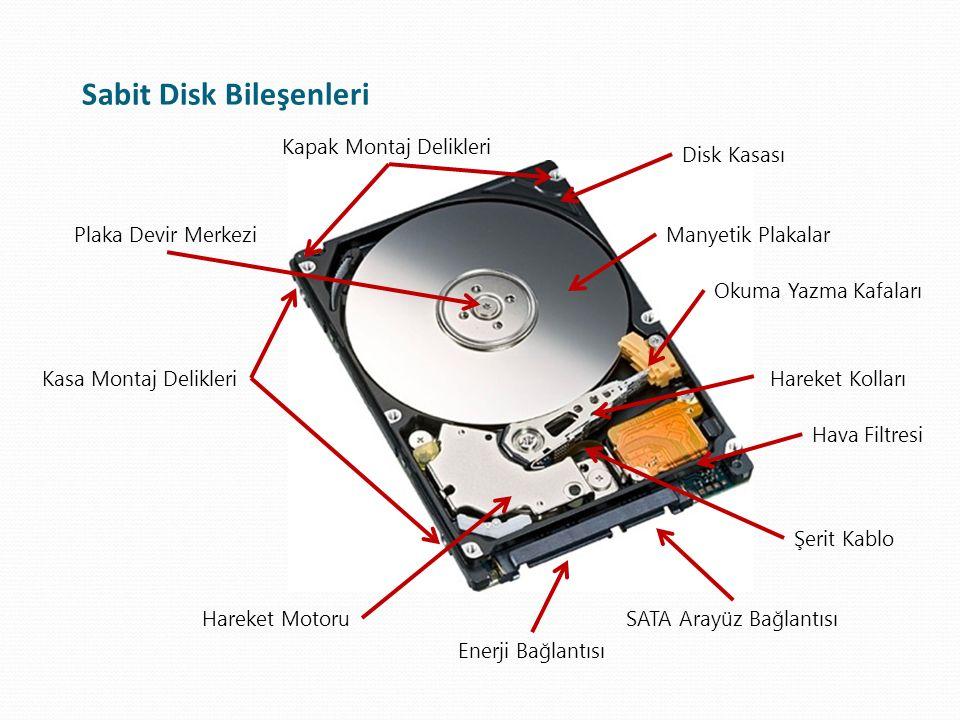Sabit Disk Bileşenleri Kapak Montaj Delikleri Kasa Montaj Delikleri Manyetik Plakalar Okuma Yazma Kafaları Hareket Kolları SATA Arayüz Bağlantısı Ener