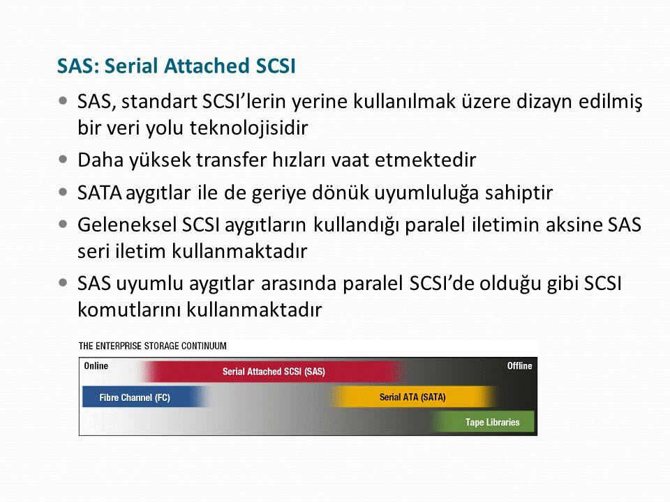 SAS: Serial Attached SCSI SAS, standart SCSI'lerin yerine kullanılmak üzere dizayn edilmiş bir veri yolu teknolojisidir Daha yüksek transfer hızları v