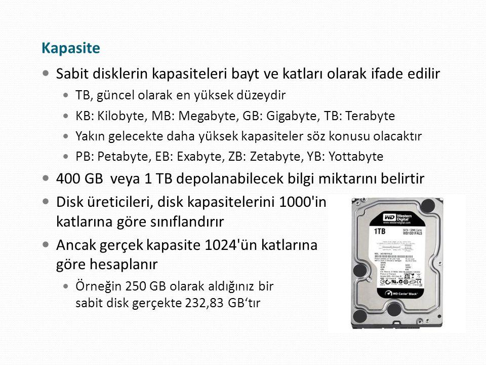 Kapasite Sabit disklerin kapasiteleri bayt ve katları olarak ifade edilir TB, güncel olarak en yüksek düzeydir KB: Kilobyte, MB: Megabyte, GB: Gigabyt
