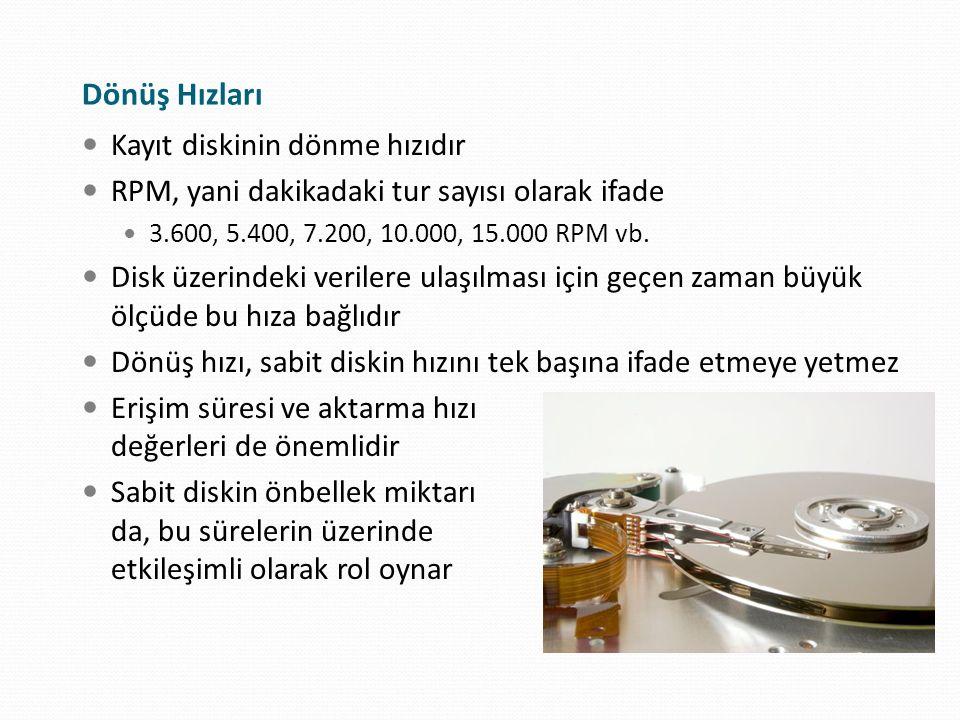 Dönüş Hızları Kayıt diskinin dönme hızıdır RPM, yani dakikadaki tur sayısı olarak ifade 3.600, 5.400, 7.200, 10.000, 15.000 RPM vb. Disk üzerindeki ve