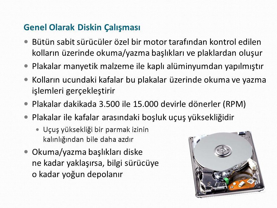 Dönüş Hızları Kayıt diskinin dönme hızıdır RPM, yani dakikadaki tur sayısı olarak ifade 3.600, 5.400, 7.200, 10.000, 15.000 RPM vb.