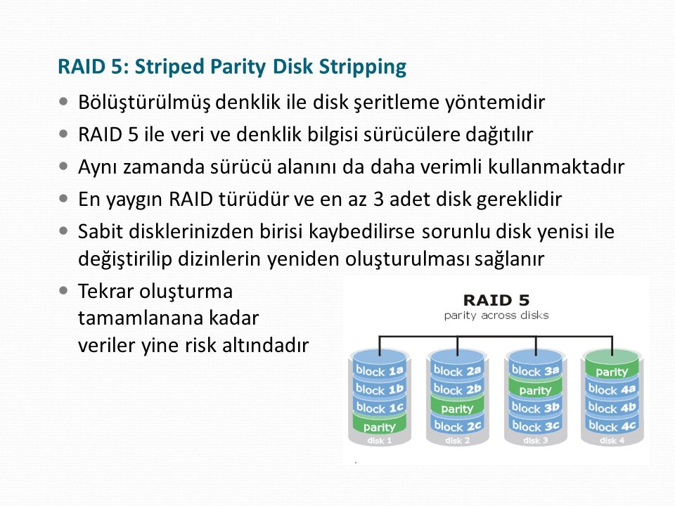 RAID 5: Striped Parity Disk Stripping Bölüştürülmüş denklik ile disk şeritleme yöntemidir RAID 5 ile veri ve denklik bilgisi sürücülere dağıtılır Aynı