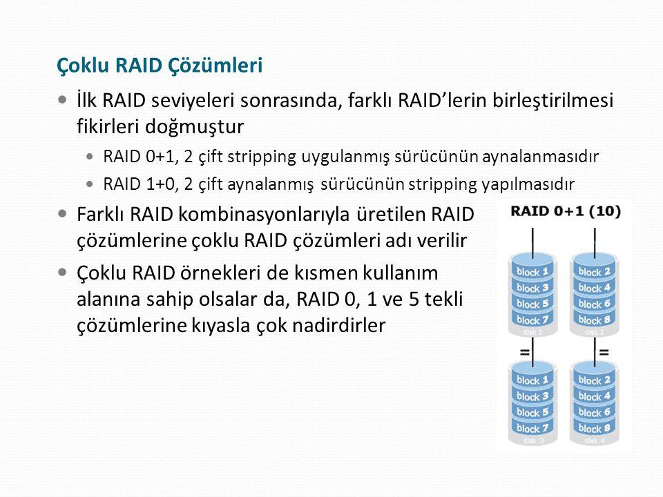 Çoklu RAID Çözümleri İlk RAID seviyeleri sonrasında, farklı RAID'lerin birleştirilmesi fikirleri doğmuştur RAID 0+1, 2 çift stripping uygulanmış sürüc