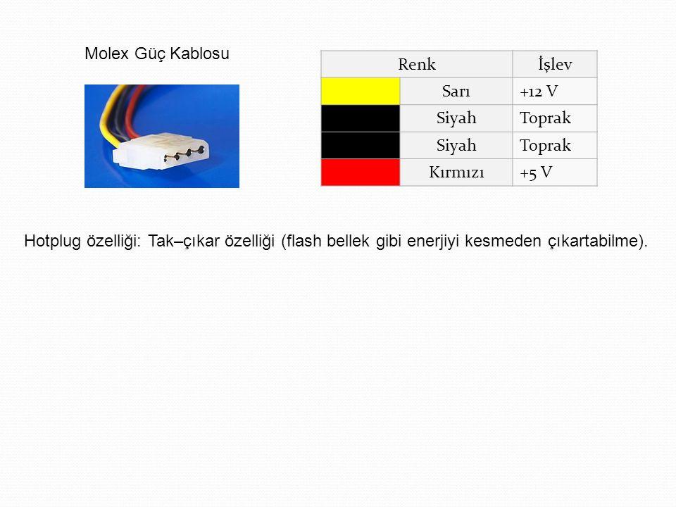 Renkİşlev Sarı+12 V SiyahToprak SiyahToprak Kırmızı+5 V Molex Güç Kablosu Hotplug özelliği: Tak–çıkar özelliği (flash bellek gibi enerjiyi kesmeden çı