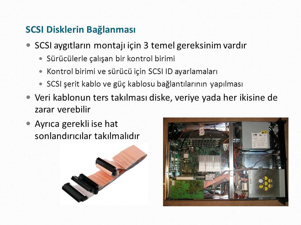 SCSI Disklerin Bağlanması SCSI aygıtların montajı için 3 temel gereksinim vardır Sürücülerle çalışan bir kontrol birimi Kontrol birimi ve sürücü için