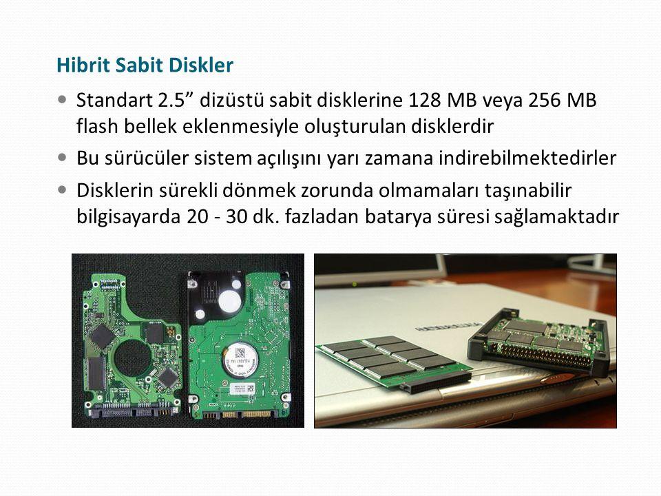 """Hibrit Sabit Diskler Standart 2.5"""" dizüstü sabit disklerine 128 MB veya 256 MB flash bellek eklenmesiyle oluşturulan disklerdir Bu sürücüler sistem aç"""