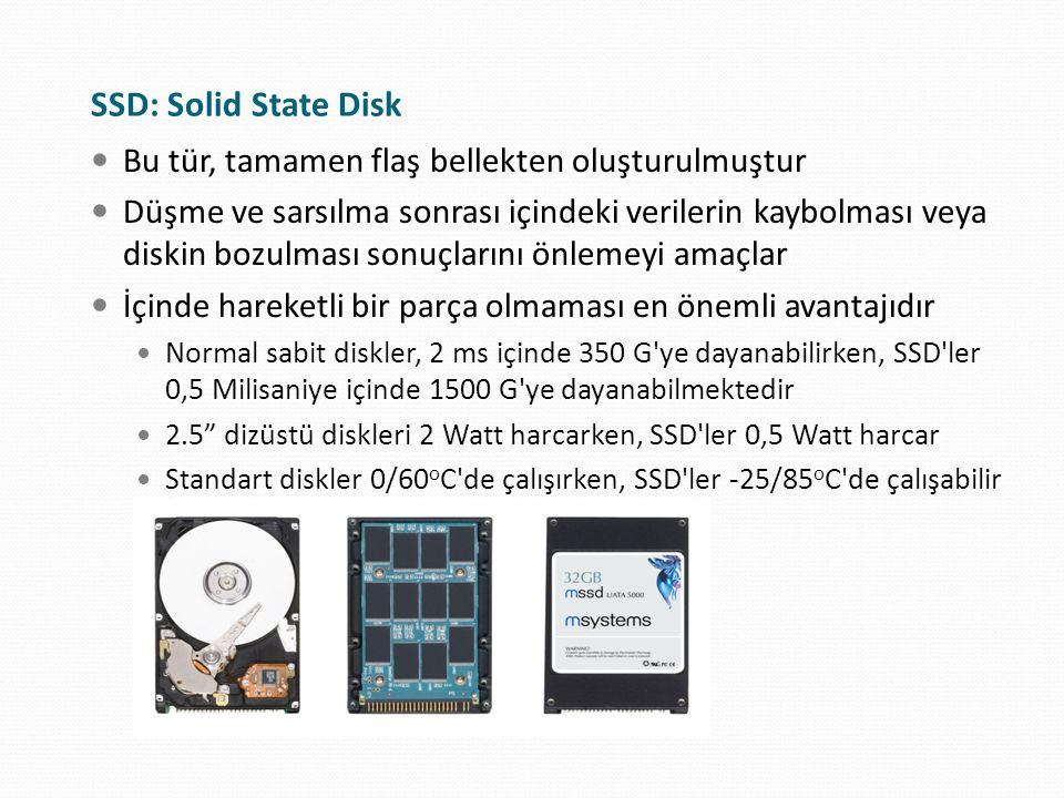 SSD: Solid State Disk Bu tür, tamamen flaş bellekten oluşturulmuştur Düşme ve sarsılma sonrası içindeki verilerin kaybolması veya diskin bozulması son