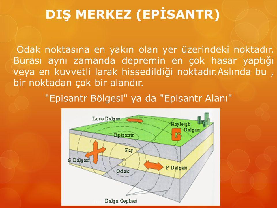 DIŞ MERKEZ (EPİSANTR) Odak noktasına en yakın olan yer üzerindeki noktadır. Burası aynı zamanda depremin en çok hasar yaptığı veya en kuvvetli larak h