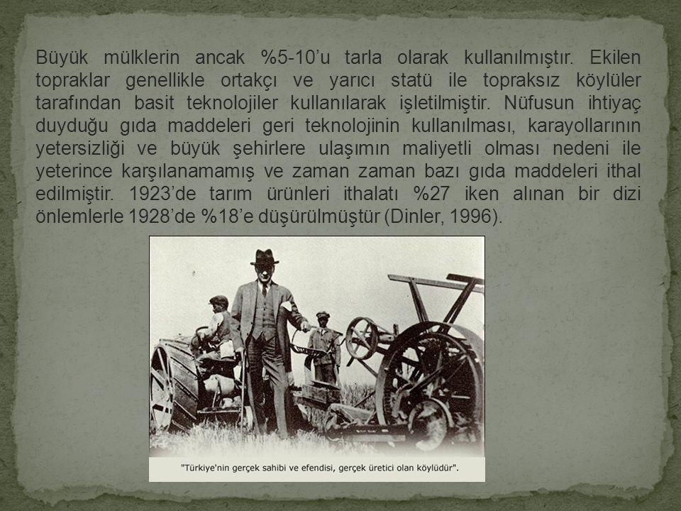1927 yılında yapılan Ziraat Sayımı sonuçlarına göre, toplam nüfus 13,6 milyon, kır nüfusu 10,3 milyondur (Anonim, 1990).