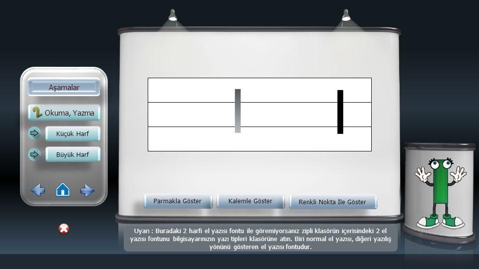 Okuma, Yazma Aşamalar Küçük Harf Büyük Harf Parmakla Göster Kalemle Göster Renkli Nokta İle Göster ı Uyarı : Buradaki 2 harfi el yazısı fontu ile göremiyorsanız zipli klasörün içerisindeki 2 el yazısı fontunu bilgisayarınızın yazı tipleri klasörüne atın.