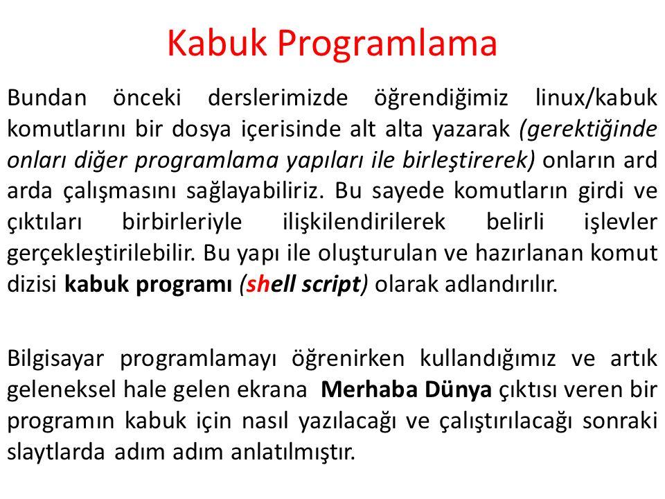 Kabuk Programlama Bundan önceki derslerimizde öğrendiğimiz linux/kabuk komutlarını bir dosya içerisinde alt alta yazarak (gerektiğinde onları diğer pr