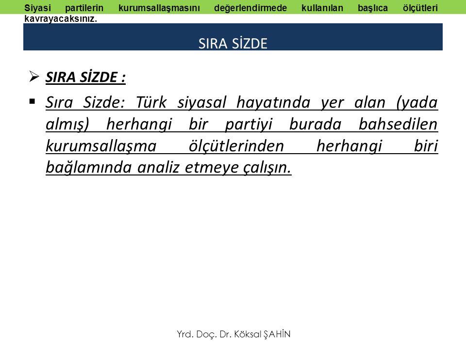 SIRA SİZDE  SIRA SİZDE :  Sıra Sizde: Türk siyasal hayatında yer alan (yada almış) herhangi bir partiyi burada bahsedilen kurumsallaşma ölçütlerinden herhangi biri bağlamında analiz etmeye çalışın.