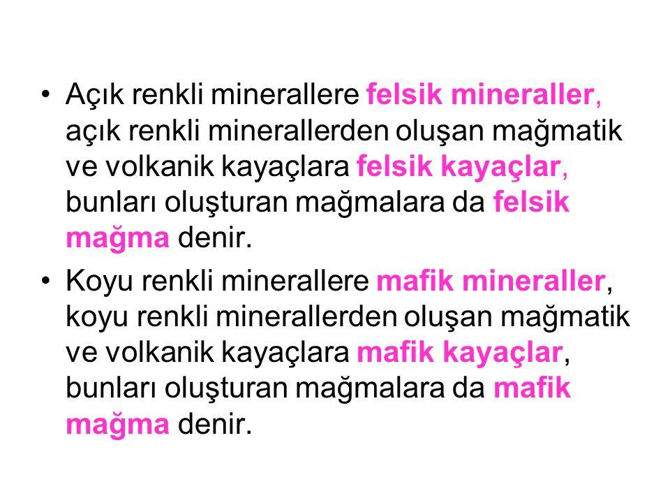 Açık renkli minerallere felsik mineraller, açık renkli minerallerden oluşan mağmatik ve volkanik kayaçlara felsik kayaçlar, bunları oluşturan mağmalar