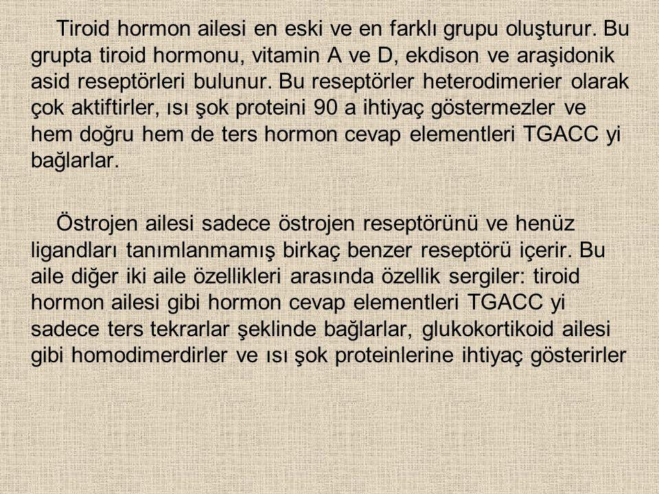 Tiroid hormon ailesi en eski ve en farklı grupu oluşturur.