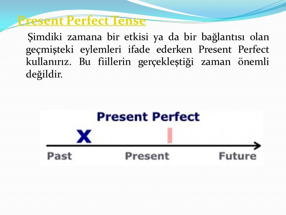 Present Perfect Tense Şimdiki zamana bir etkisi ya da bir bağlantısı olan geçmişteki eylemleri ifade ederken Present Perfect kullanırız. Bu fiillerin