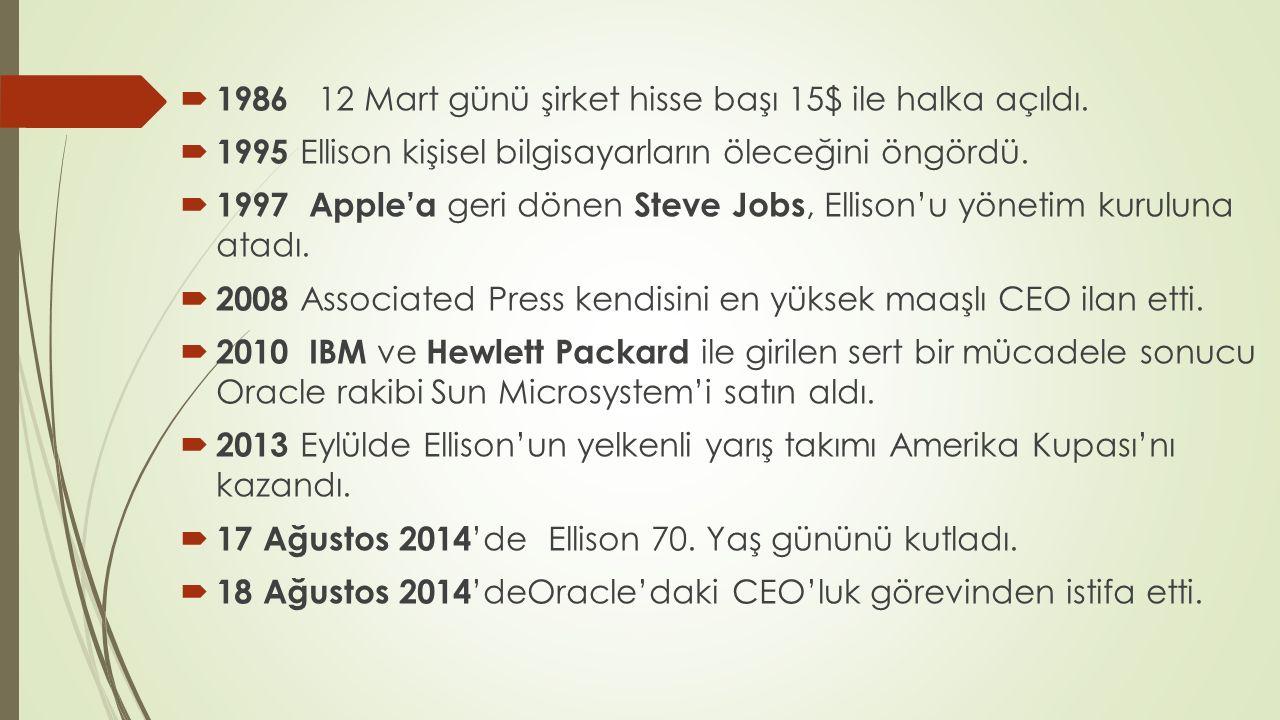  1986 12 Mart günü şirket hisse başı 15$ ile halka açıldı.  1995 Ellison kişisel bilgisayarların öleceğini öngördü.  1997 Apple'a geri dönen Steve