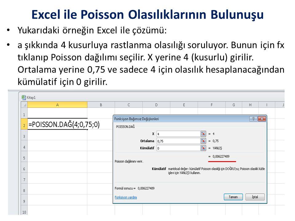 Yukarıdaki örneğin Excel ile çözümü: a şıkkında 4 kusurluya rastlanma olasılığı soruluyor.