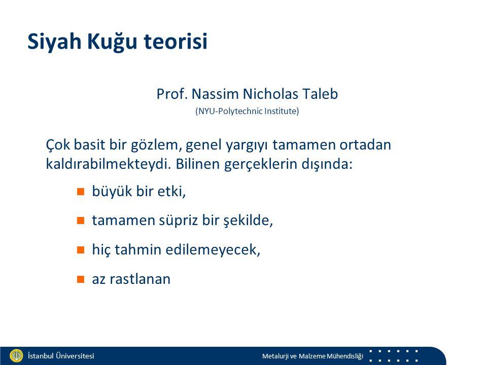 Materials and Chemistry İstanbul Üniversitesi Metalurji ve Malzeme Mühendisliği İstanbul Üniversitesi Metalurji ve Malzeme Mühendisliği Siyah Kuğu teorisi Prof.