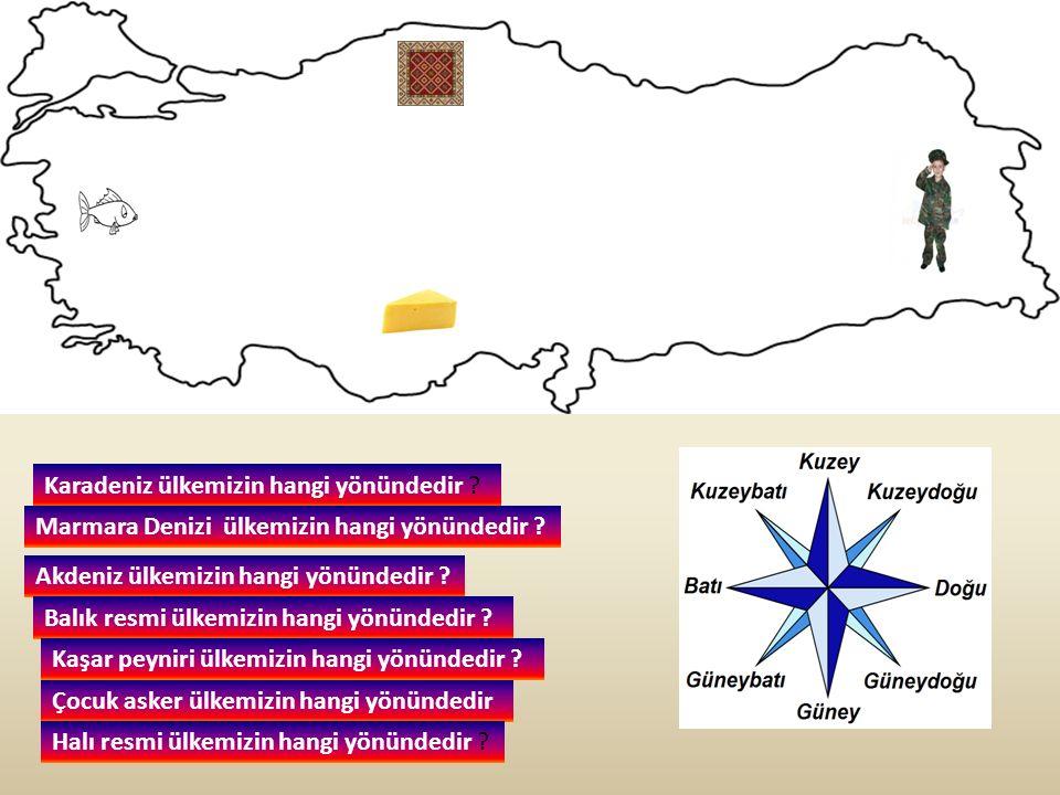 Karadeniz ülkemizin hangi yönündedir ? Akdeniz ülkemizin hangi yönündedir ? Marmara Denizi ülkemizin hangi yönündedir ? Balık resmi ülkemizin hangi yö