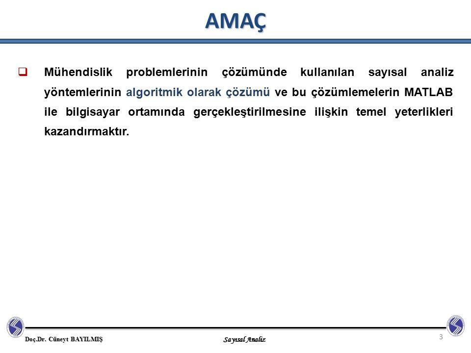 Doç.Dr.Cüneyt BAYILMIŞ Sayısal Analiz Sayısal Analiz Nedir.