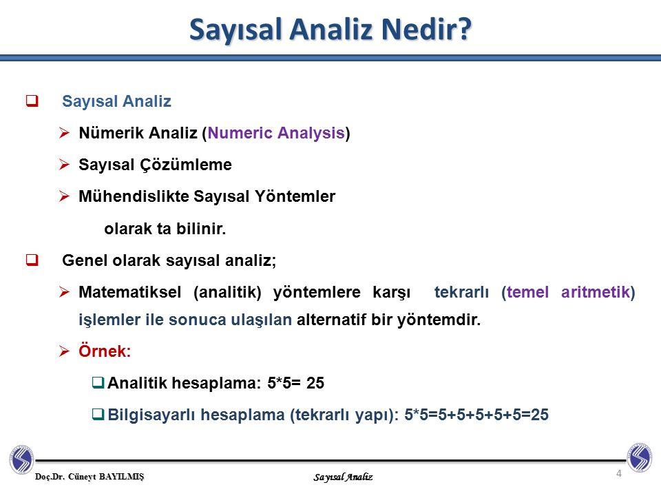 Doç.Dr. Cüneyt BAYILMIŞ Sayısal Analiz Sayısal Analiz Nedir? 4  Sayısal Analiz  Nümerik Analiz (Numeric Analysis)  Sayısal Çözümleme  Mühendislikt
