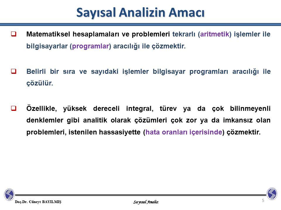 Doç.Dr. Cüneyt BAYILMIŞ Sayısal Analiz Sayısal Analizin Amacı 5  Matematiksel hesaplamaları ve problemleri tekrarlı (aritmetik) işlemler ile bilgisay