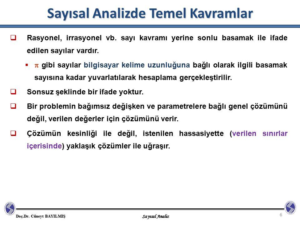 Doç.Dr. Cüneyt BAYILMIŞ Sayısal Analiz Sayısal Analizde Temel Kavramlar 6  Rasyonel, irrasyonel vb. sayı kavramı yerine sonlu basamak ile ifade edile