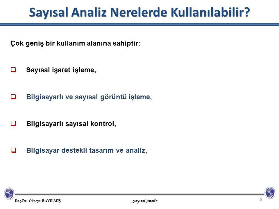 Doç.Dr. Cüneyt BAYILMIŞ Sayısal Analiz Sayısal Analiz Nerelerde Kullanılabilir? 8 Çok geniş bir kullanım alanına sahiptir:  Sayısal işaret işleme, 