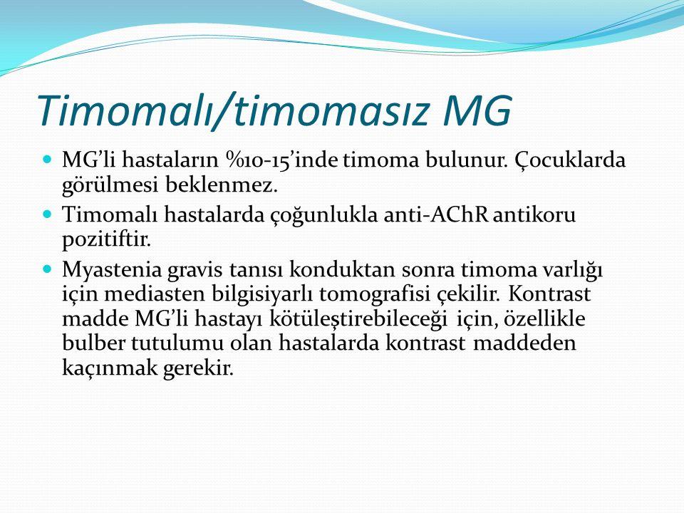 Timomalı/timomasız MG MG'li hastaların %10-15'inde timoma bulunur. Çocuklarda görülmesi beklenmez. Timomalı hastalarda çoğunlukla anti-AChR antikoru p