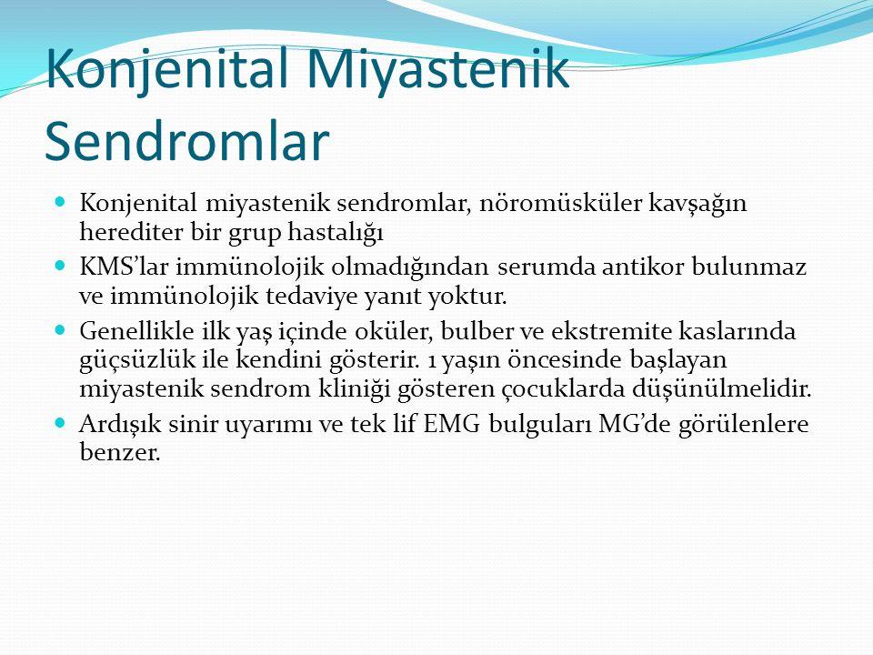 Konjenital Miyastenik Sendromlar Konjenital miyastenik sendromlar, nöromüsküler kavşağın herediter bir grup hastalığı KMS'lar immünolojik olmadığından serumda antikor bulunmaz ve immünolojik tedaviye yanıt yoktur.