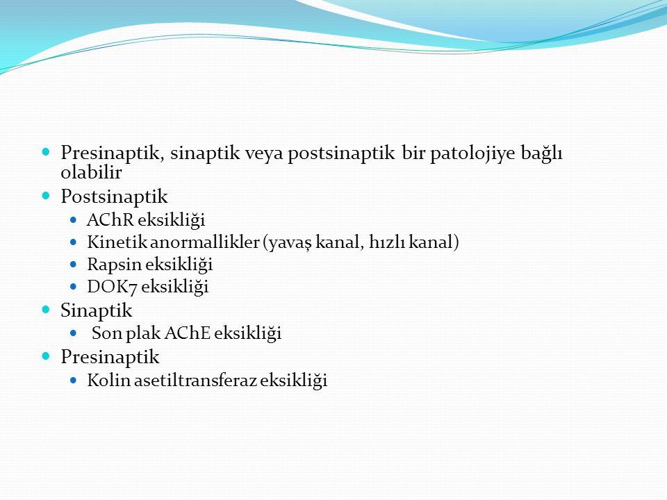 Presinaptik, sinaptik veya postsinaptik bir patolojiye bağlı olabilir Postsinaptik AChR eksikliği Kinetik anormallikler (yavaş kanal, hızlı kanal) Rapsin eksikliği DOK7 eksikliği Sinaptik Son plak AChE eksikliği Presinaptik Kolin asetiltransferaz eksikliği
